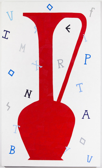 Pastiche Cicero Vase and Text Red, 2013